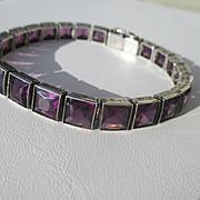 Vintage BIG Purple Amethyst Paste Art Deco Bracelet in Sterling