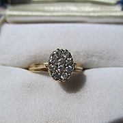 SALE SHOP Special! Antique Edwardian Cluster Diamond Ring 14K Yellow Gold