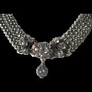 Antique and Rare 5 Strand Quartz Rock Crystal Necklace ~ Georgian Period