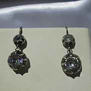 Antique True French Paste Dangle Earrings ~ 6 3/4 carats mine cut TPW ~ Georgian Era Circa 180