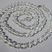 Extra Long Opera Length Faceted Quartz Rock Crystal Necklace Scarce Length ~ Edwardian Era