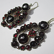 Spectacular Antique Genuine Glowing Red Bohemian Garnet Earrings in Silver ~ Victorian Period