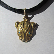 SOLD Fantastic Egyptian Revival Gold Panther Pendant / Charm with Persian Turquoise Eyes.. Cir