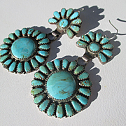 Fantastic Navajo Native American Turquoise and Silver Needlepoint Cluster Earrings ~ Vintage M