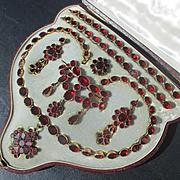 SALE Shop Special! Antique Suite by Harvey and Gore Boxed Riviere Necklace 2 bracelets / 2 Bro