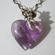 SALE Shop Special! Natural French 37+ Carat Amethyst Heart with Silver Putti and Chain ~ Vinta