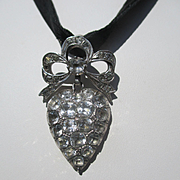 REDUCED Antique French Silver and Paste Large Puffy Heart Pendant ~ Edwardian Era