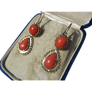 Antique 15K Gold Coral Day / Night Earrings ~ Victorian