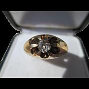 Antique 70 point Solitaire Mine / Cushion Cut Diamond Ring 14K Yellow Gold ~ Victorian Era