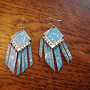 Retro Abstract Dangle Earrings Pair Bevel Cut