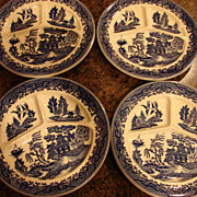 4 Occupied Japan Blue Willow Chop Plates Flow Blue Cobalt