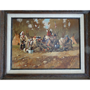 """The Guardians"" Native American Western Art Original Oil Painting on Canvas Don Prec"