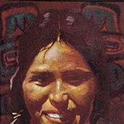 Kwakiutl Flathead Montana Native American Maiden Portrait Don Prechtel Original Oil Painting o