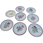 SOLD Luneville France Dessert Plates Hand Painted Reticulated Set of 8 Faience Pottery Keller
