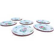 SOLD Old Strasbourg Faience Pottery Dinner Plates Hand Painted 6 Different Flowers