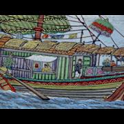 1890-1927 Japanese Satsuma Plates Chargers Kinkozan Tsukuru Signed Ship Scenics  6 Hand Painte