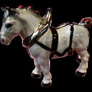 SALE PENDING Cabinet Miniature Porcelain Clydesdale Horse Figurine Vintage