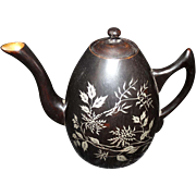 Foo Chow Chinese Lacquer Ware Teapot Black Gold Silver Vintage