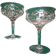 Elegant Depression Glass Pair Etched Champagne Wine Stems Crystal Stemware Perfect Bridal Wedd
