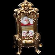 SOLD Miniature Rococo Vitrine Gilt Brass Glass China Cabinet Display Doll Child Accessory Vint