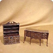 Renewal Doll House Miniature Furniture Hutch & Buffet 50s Signed  2 Pc Formal set Child's Chil