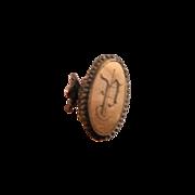 Rococo Antique Hat Pin Paste Rhinestone Gold Monogram Plate GF