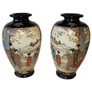 "Pair Satsuma Pottery Meiji Antique Vases Cobalt Scenic 10""  Free Shipping"