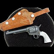 SALE Marx Miniature Toy Longhorn Cap Gun Revolver & Holster Vintage