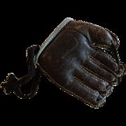 SALE PENDING Sports Miniature Mid Century Leather Baseball Glove Mitt