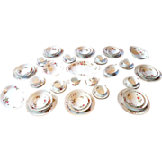 Moss Rose Porcelain China Dinnerware Set 71pc Service with Serving Dishes