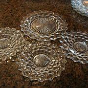 "3 Fostoria Glass American 7"" Salad Plates"