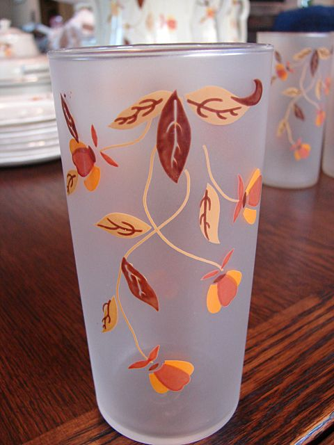 4 Libbey Tumblers Frosted Glasses For Hall China Jewel Tea