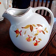 Hall China Jewel Tea Autumn Leaf Ball Jug Pitcher Fine