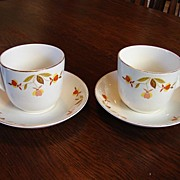 Hall's China Jewel Tea Autumn Leaf  2 St Denis Coffee Cups and Saucers Scarce