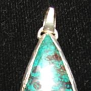 Sterling Malachite Drop Pendant