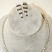 Vintage 1950's - 1960's Black and White Rhinestone Necklace and Earrings Set.