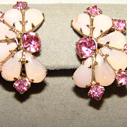 Vintage Pink Rhinestone Fau Moonstone Clip Earrings