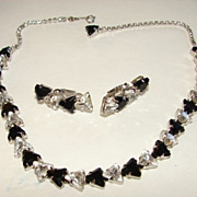 Vintage Art Deco Black White Rhinestone Choker  and clip Earrings