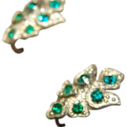 1920 Emerald Green Paste Early Rhinestone Screw back Earrings