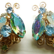 Vintage Aurora Borealis Filigree Multi color Bug Butter fly Clip Earrings