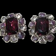 Vintage Purple  Smoky Rhinestone Clip Earrings