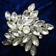 Vintage White Rhinestone Brooch Pin