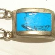 Vintage Sterling  Enameled Turquoise Inlaid Bracelet