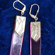 Purple Lucite Sun Moon Sterling Earrings
