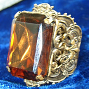Vintage Chocolate or Cola Colored Huge Filigree Ring