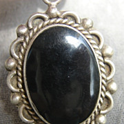 Large Sterling Black Stone  Onyx Pendant