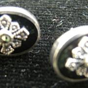 Sterling Black Onyx Marcasite Art Deco Pierced Earrings