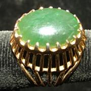 Jade Filigree Open work Raised Ring Size 7