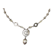 Sterling Necklace  Chunky Swirl Crystal and Bead