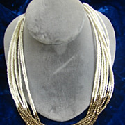 SALE Multi Strand Seed Bead Metal Glass Necklace